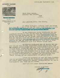 Dankesbrief eines Walliser Kinderheims vom 17. Februar 1944; nach einer Reportage in der «Nation» gingen zahlreiche Spenden ein (Klicken für grosse Fassung)