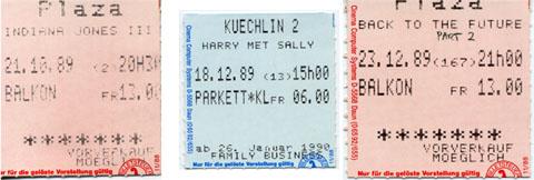 Basler Kinotickets aus dem Herbst 1989