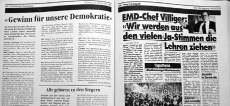 Zeitungsartikel nach dem Abstimmungssonntag - Klicken für grosse Fassung