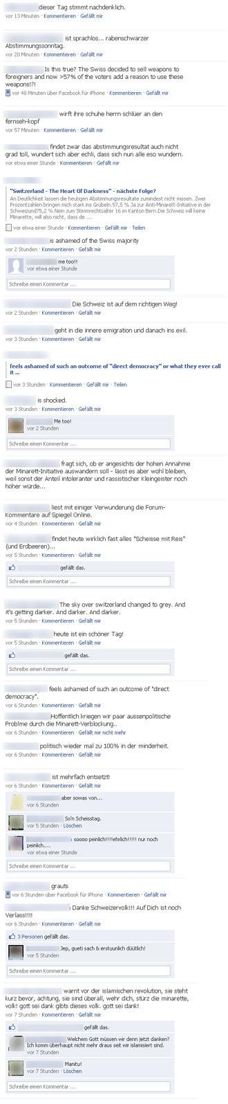 Anonymisierte Facebook-Kommentare zur heutigen Abstimmung