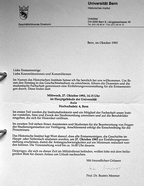 Start ins Studium im Herbst 1993: Einladung von Beatrix Mesmer