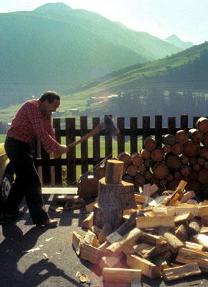 Der Vater des Bloggers beim Holzhacken, Herbst 1983- rechts hinten der Piz Vatgira
