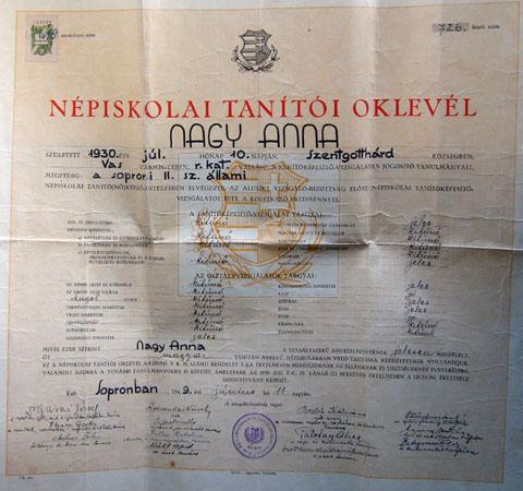 Ungarisches Lehrerpatent, 1949