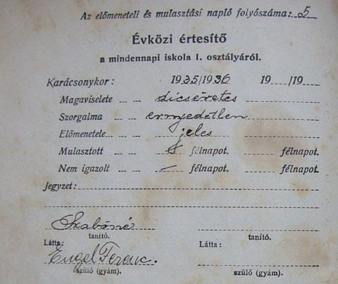 Ungarisches Primarschulzeugnis, 1935