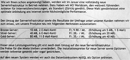 Webhosting-Angebote eines damals typischen Providers (Frühling 2000)