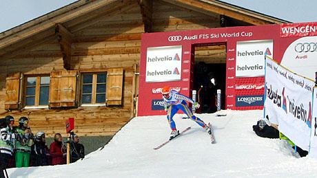 Der älteste Teilnehmer des Lauberhornrennens 2010: Patrik Järbyn, Schweden