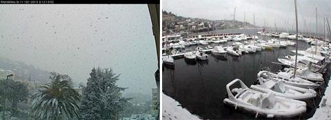 Schnee am Mittelmeer: Mandelieu bei Cannes, 11.2.2010