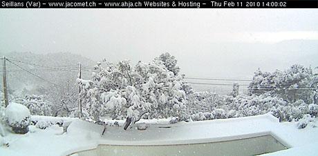 Schnee in der Provence: Seillans, 11.2.2010