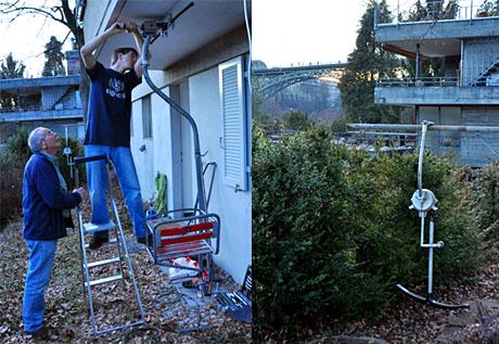 Sedruner am Werk: Vater und Bruder helfen bei der Sesselmonatge in Bern. Rechts: Der neue Berner Skilift Altenberg