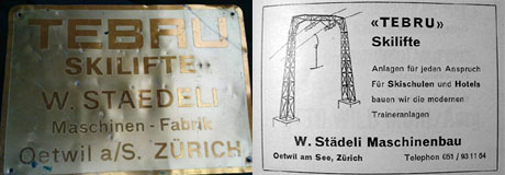 TEBRU: Firmenschild und Inserat aus der Zeitschrift Terra Grischuna vom April 1958