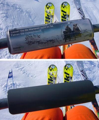 Werbeblocker auf dem Sessellift Gurschenalp in Andermatt: Schwupps, drehen, und weg ist die Werbung!