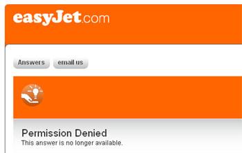 Easyjets Website, die nach wie vor nicht richtig funktioniert