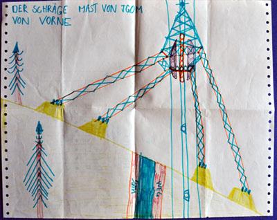 Kunstwerk anno 1980: Stütze 1 der Seilbahn Tgom, Sedrun