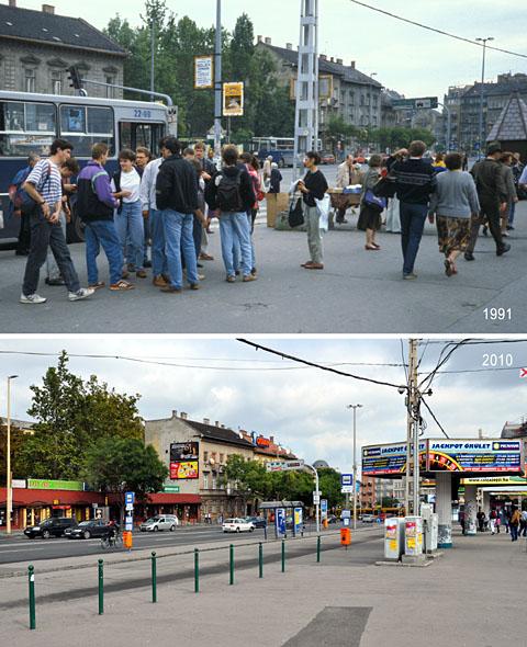 Vergleich 1991-2010: Moskauer Platz (Moszkva tér), Budapest - Klicken für grosse Fassung