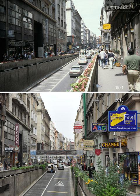 Vergleich 1991-2010: Petőfi Sándor utca, Budapest - Klicken für grosse Fassung