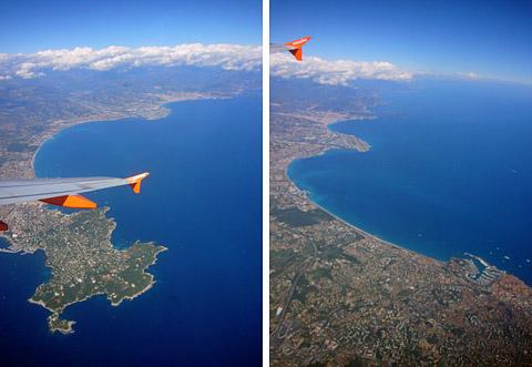 Cap d'Antibes und Nizza von oben, 27. September 2010