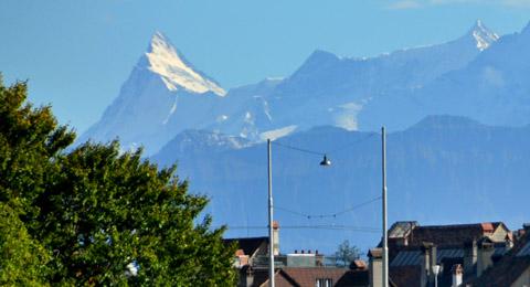 Alpenblick von der Berner Lorrainebrücke, 2. Oktober 2010