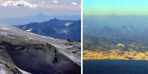 Sicht von der französischen Küste bis zum Monte Viso