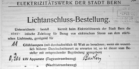 Lichtanschlussbestellung EW Bern von 1929