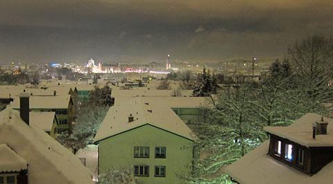Winternacht am Knüslihubel, Blick aufs Bundeshaus, 1. Dezember 2010