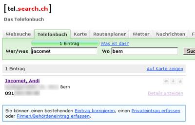 Ungewollt auf tel.search.ch
