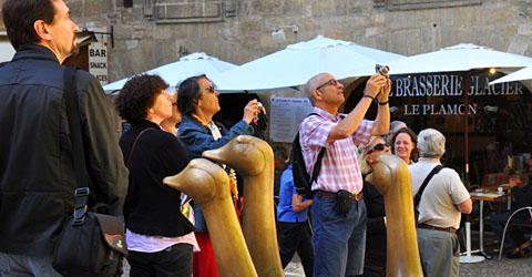 Garantiert ungemästete Gänse in Sarlat, September 2011, Place des oies (Klicken für mehr Bilder aus Sarlat und dem Périgord)