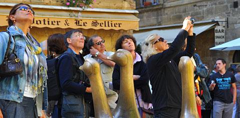Garantiert ungemästete Gänse in Sarlat, September 2011, Place des oies