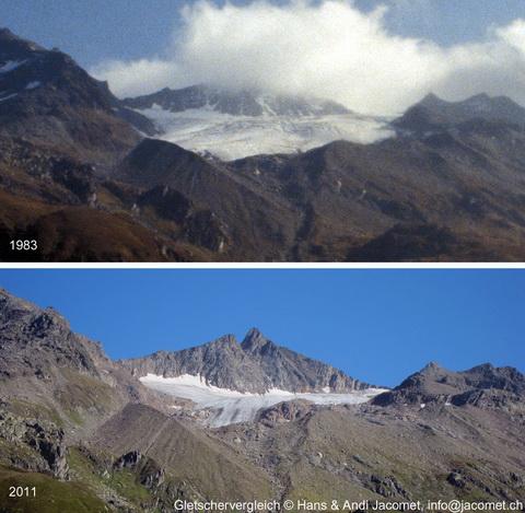 Gletschervergleich Gannaretsch 1983-2011 - klicken für grosse Fassung