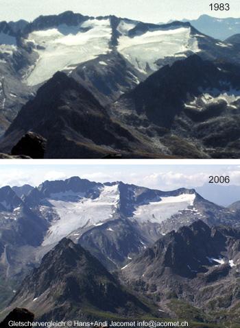 Gletschervergleich Glatscher da Maighels 1983-2006