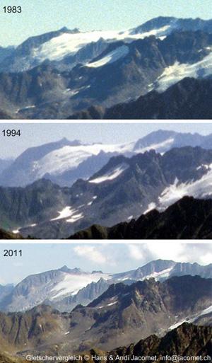 Gletschervergleich Glatscher da Medel und Gannaretsch vom Badus aus, 1983-1994-2011 - klicken für grosse Fassung