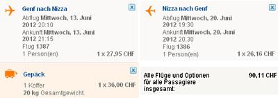 Easyjet-Tarif im Juni 2012, Genf-Nizza