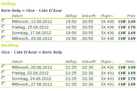 Skywork-Tarife im Juni 2012, Bern-Nizza