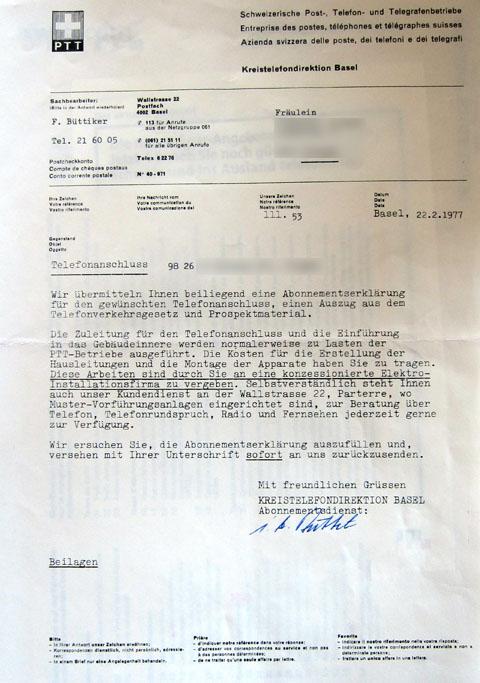 Brief der Kreistelefondirektion Basel vom 22.2.1977