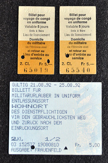 Militärische Zugtickets aus dem Jahr 1992