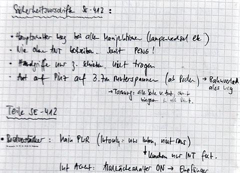 Notizen von 1992 zur Funkanlage SE-412