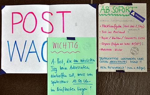 Beschriftungen meines RS-Postlokals in der Verlegung im Jura (1992)