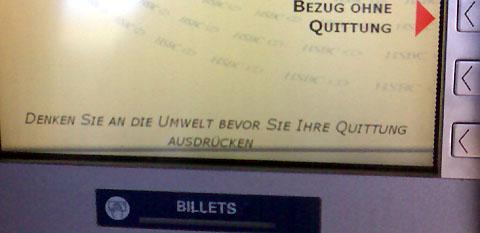 Quittung ausdrücken (Bancomat in Fayence)