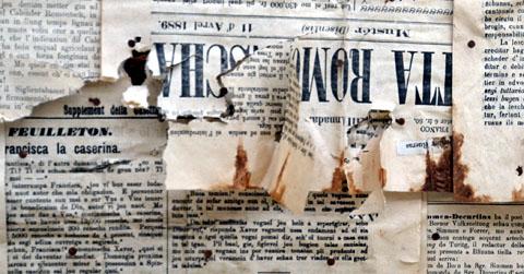Gasetta Romontscha und andere Zeitungen aus der Gegend aus der Zeit 1889-1907 (Isolation in Rueras, Mai 2012)