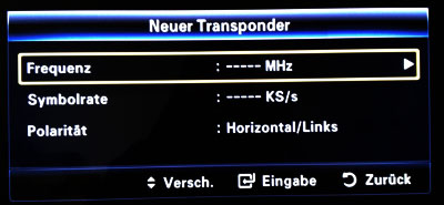Neue Transponder / Frequenzen eingeben bei Samsung-TV