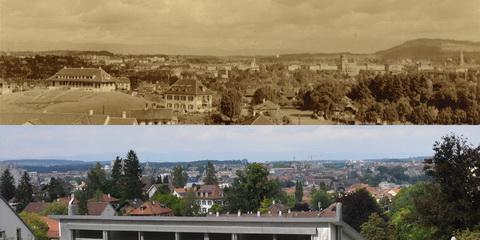Vergleichsfoto Bern 1925-2012, Knüslihubel von der Bellevuestrasse aus gesehen (Klicken zum Vergrössern)