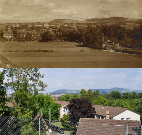 Vergleichsfoto Bern 1925-2012, Aussicht vom Knüslihubel übers Morillongut nach Bern (Klicken zum Vergrössern)