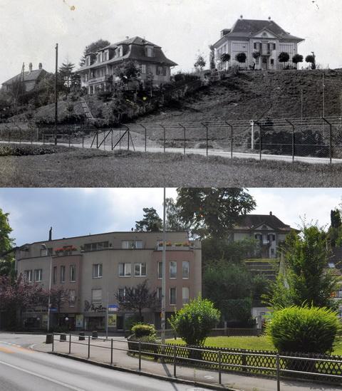 Vergleichsfoto Bern 1925-2012, Knüslihubel vom Heckenweg aus (Klicken zum Vergrössern)