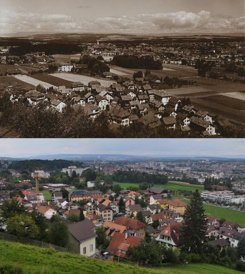 Vergleichsfoto Bern 1935-2012, Gurtenbühl, Knüslihubel, Weissenbühl (Klicken zum Vergrössern)