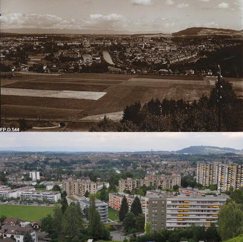 Vergleichsfoto Bern 1935-2012, Wabern und Bern (Klicken zum Vergrössern)