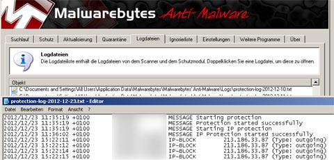Die Verbindung wurde von diesem Programm blockiert, als ich versuchte, eine verseuchte Website zu besuchen