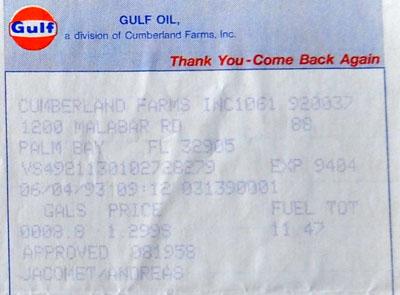 Das erste Mal... tanken: Für 11.47 Dollar am 4. Juni 1993 in Palm Bay, Florida