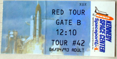Eintrittsticket für das Kennedy Space Center am 4. Juni 1993