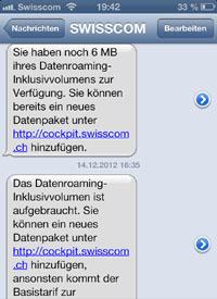 Roaming-Erleichterung bei Swisscom