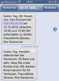 Willkommens-SMS bei Swisscom: Man weiss stets, was wann läuft