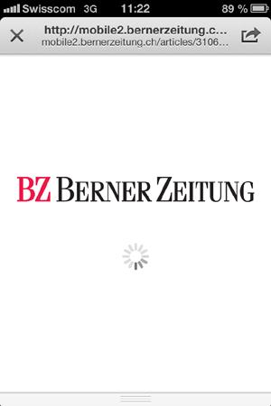 Link aus Twitter zur Berner Zeitung: Minutenlang drehende Animation statt Inhalt
